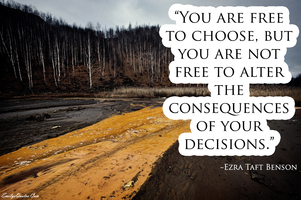 you are free to choose but you are not free to alter the