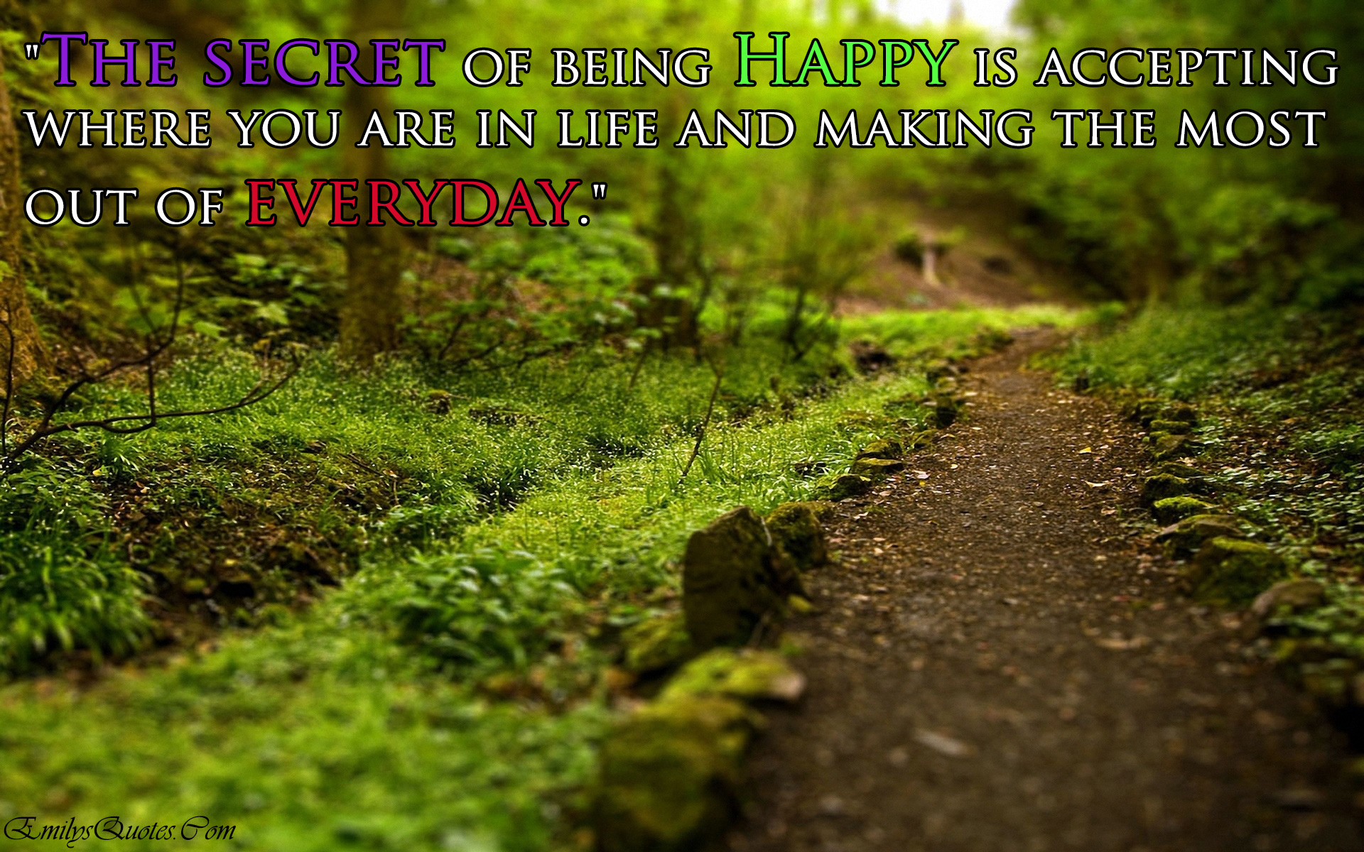 Inspirational Quotes On Happiness And Life The Secret Of Being Happy Is Accepting Where You Are In Life And