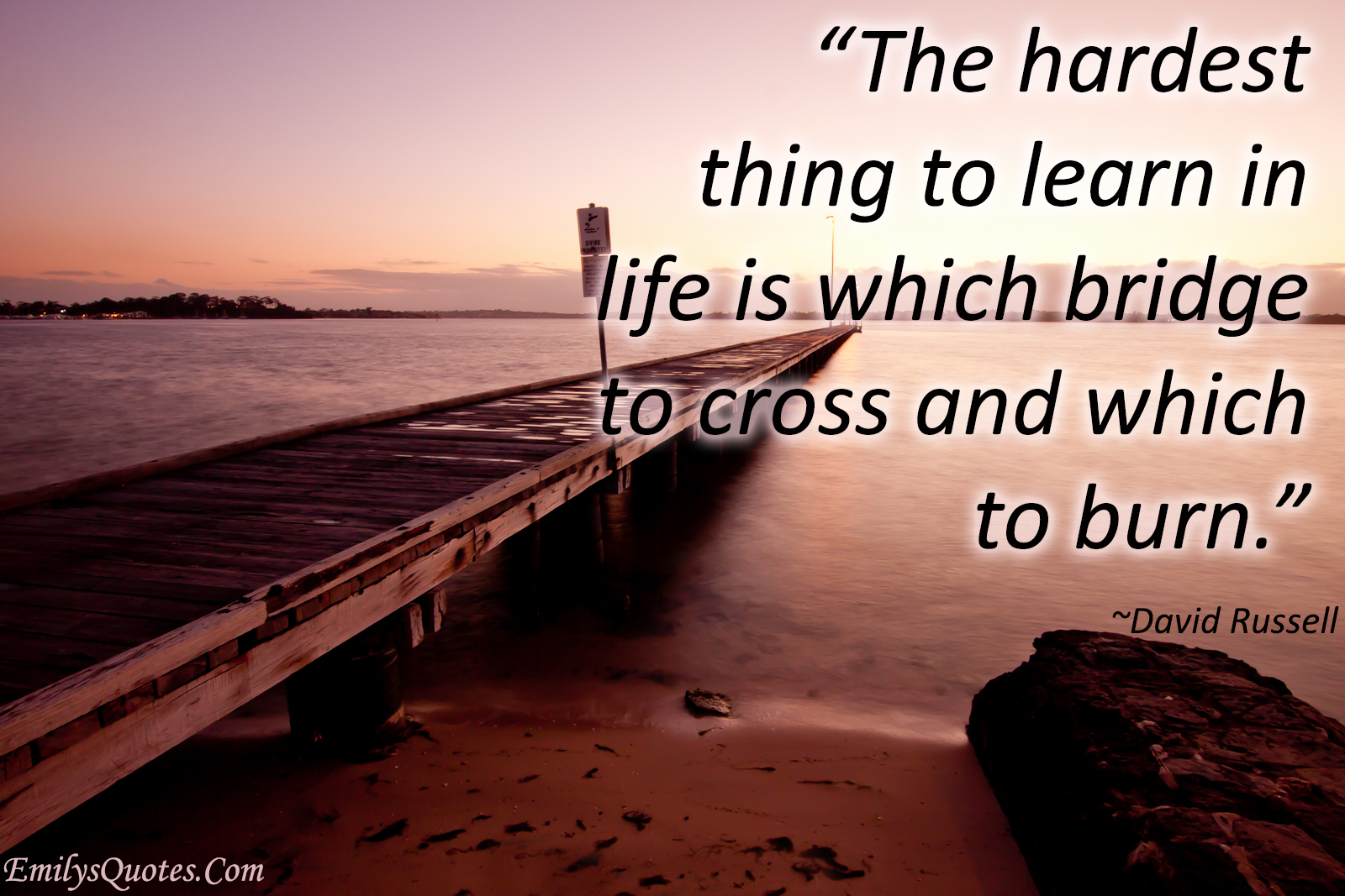 Life Quotes Com Impressive The Hardest Thing To Learn In Life Is Which Bridge To Cross And