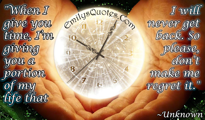 EmilysQuotes.Com - life, time, relationship, unknown, regret