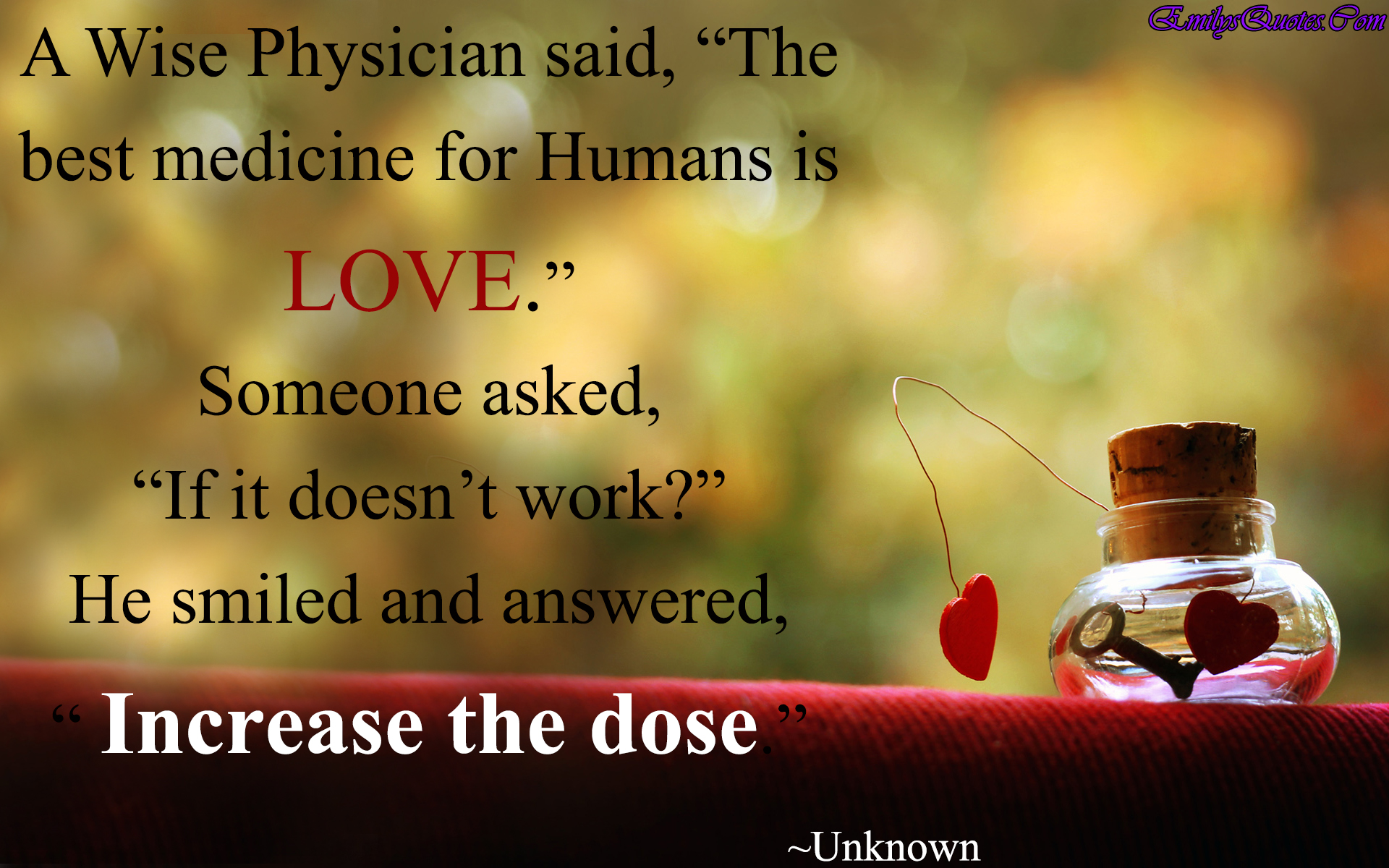 "Wise Quotes About Love A Wise Physician Said ""the Best Medicine For Humans Is Love"