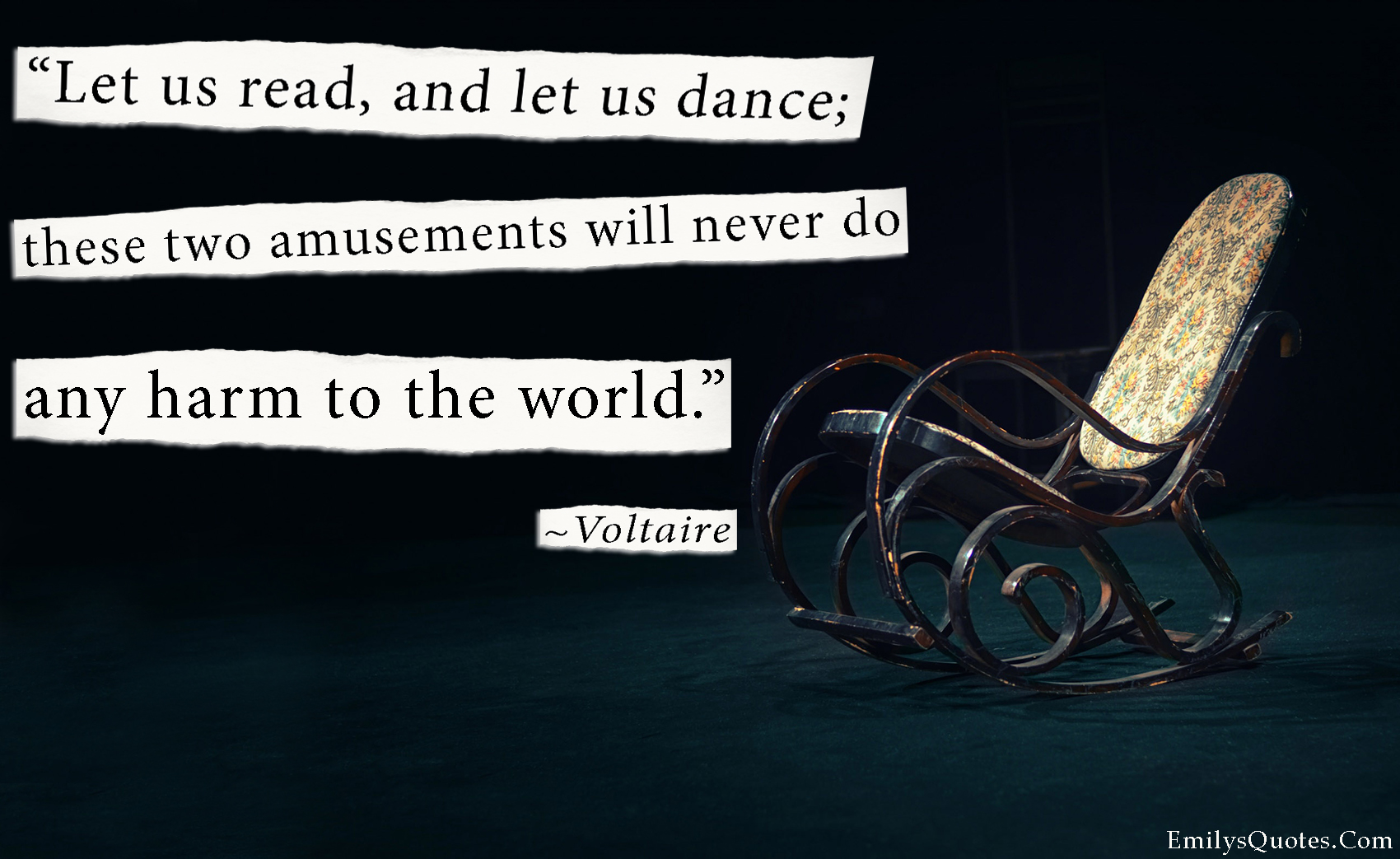 EmilysQuotes.Com - dance, read, amusement, harm, world, peace, intelligence,  Voltaire
