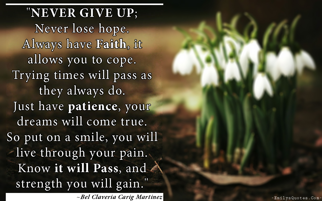 Poems About Never Giving up Hope Never Give up Never Lose