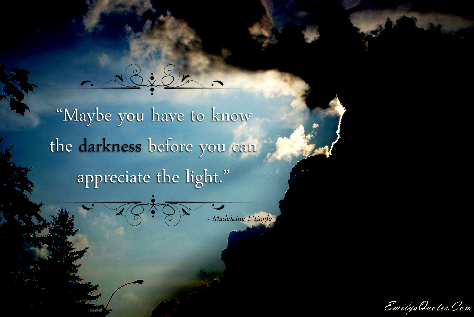 EmilysQuotes.Com - light, darkness, appreciate, learning, inspirational, wisdom, Madeleine L'Engle