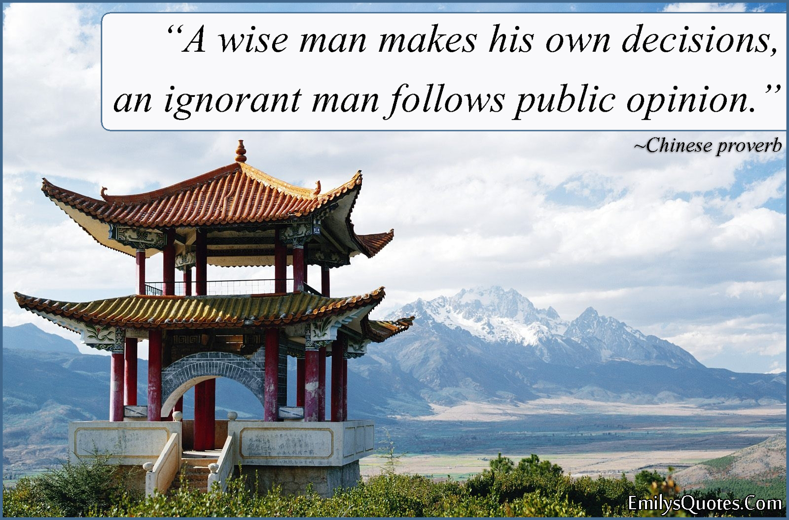 EmilysQuotes.Com - wisdom, decision, ignorant, opinion, difference, people, Chinese proverb