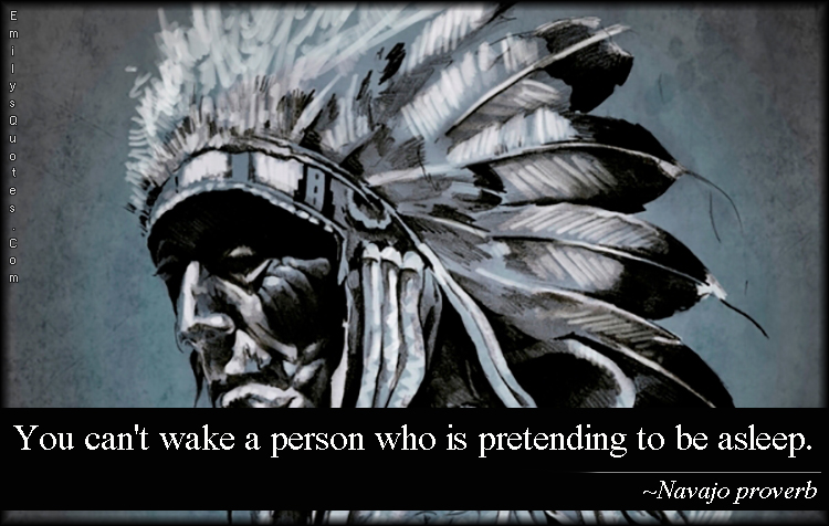 EmilysQuotes.Com - wake, asleep, pretending, wisdom, people, understanding, native american proverb, Navajo proverb