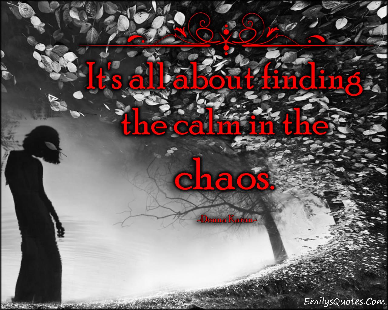 EmilysQuotes.Com - calm, chaos, understanding, inspirational, great, find, Donna Karan