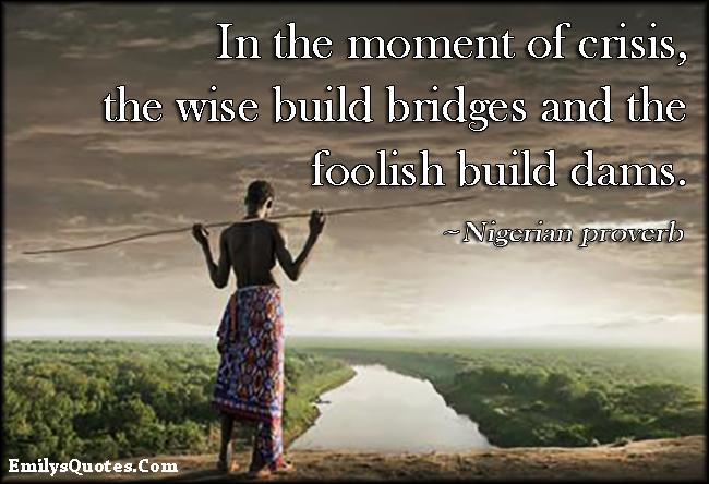 EmilysQuotes.Com - crisis, wise, bridge, foolish, dam, wisdom, mistake, African proverb, Nigerian proverb