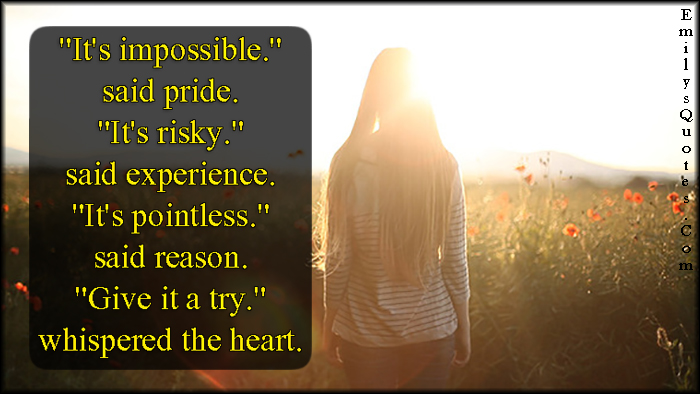 EmilysQuotes.Com - impossible, pride, risky, experience, pointless, reason, heart, inspirational, positive, encouraging, unknown