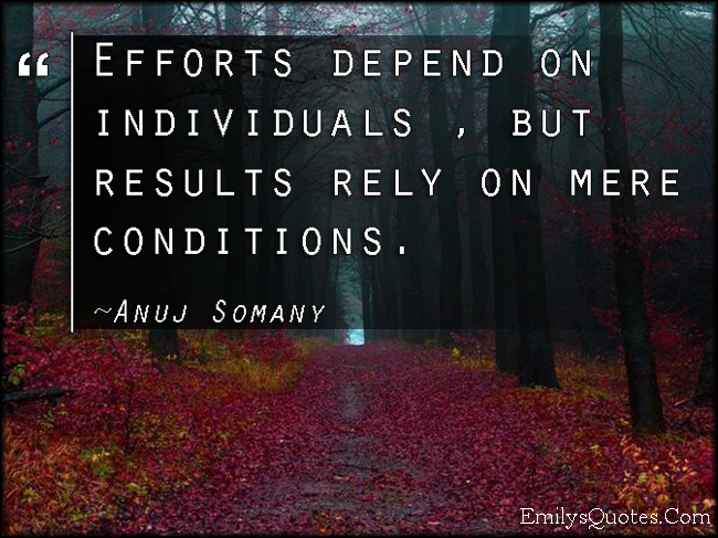 EmilysQuotes.Com - effort, results, mere conditions, wisdom, intelligent, Anuj Somany