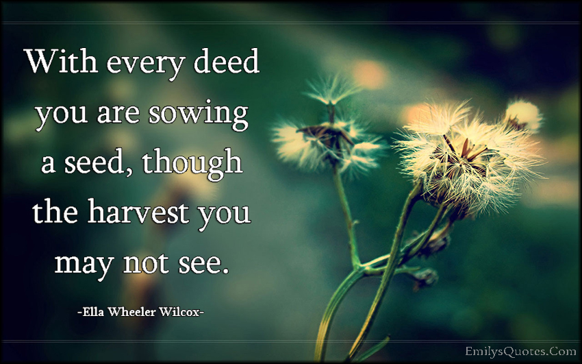 EmilysQuotes.Com - wisdom, deed, sowing, seed, harvest, inspirational, future, intelligent, Ella Wheeler Wilcox