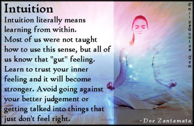 EmilysQuotes.Com - advice, life, intuition, learning, taught, sense, feelings, experience, gut feeling, learning, trust, stronger, strength, judgement, Doe Zantamata
