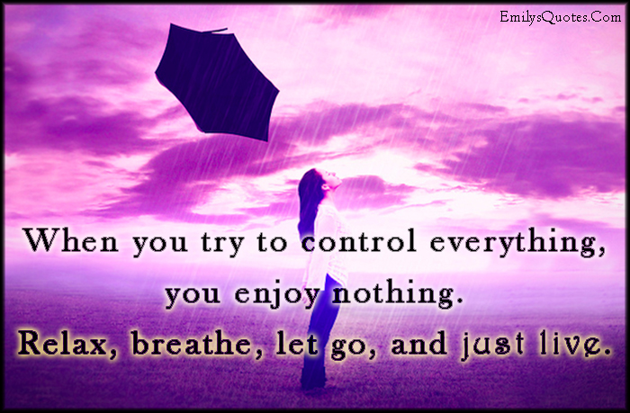 EmilysQuotes.Com - control, everything, enjoy, nothing, relax, breathe, let go, just live, inspirational, advice, positive, consequences, happiness, unknown