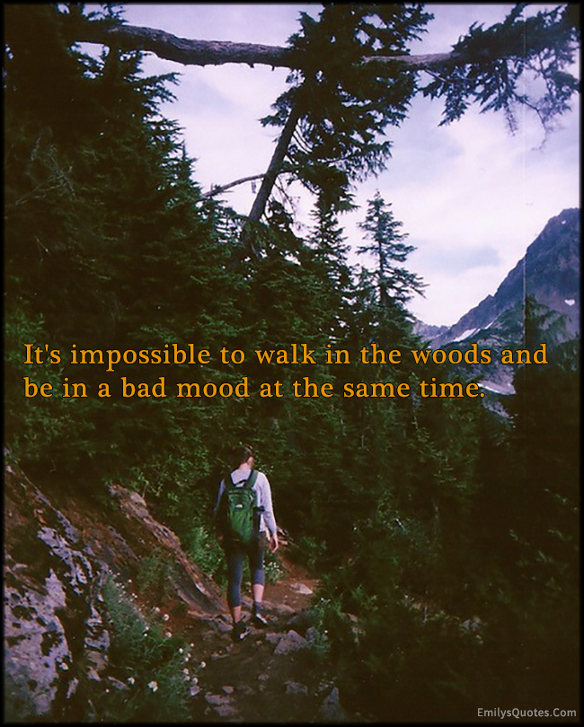 EmilysQuotes.Com - impossible, walk, woods, bad mood, nature, experience, unknown