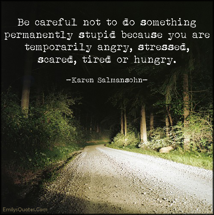 EmilysQuotes.Com - careful, permanently, stupid, temporarily, angry, stressed, scared, tired, hungry, advice, mistake, Karen Salmansohn