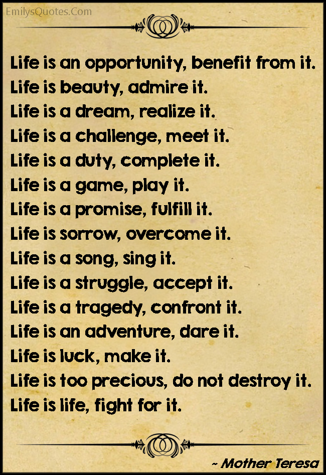 EmilysQuotes.Com - life, amazing, great, inspirational, advice, positive, chance, beauty, dream, duty,  Mother Teresa