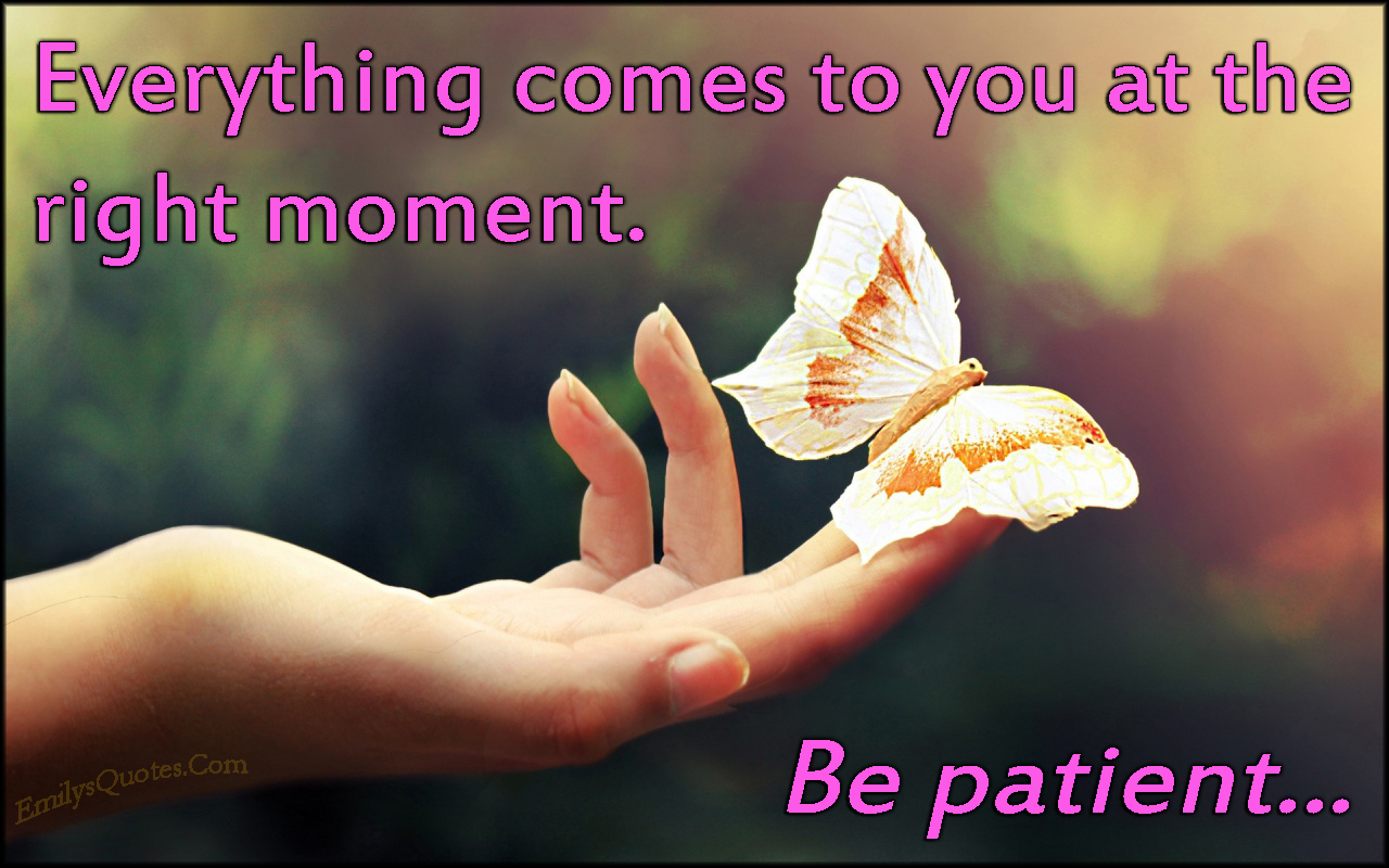 EmilysQuotes.Com - right moment, wait, patient, life, inspirational, advice, unknown