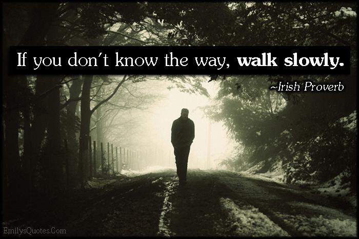 EmilysQuotes.Com - don't know, way, walk, slowly, advice, wisdom, intelligent, proverb,  Irish Proverb