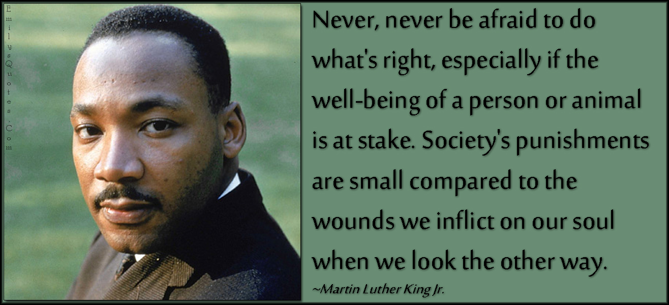 EmilysQuotes.Com - fear, right, society, people, punishment, wounds, soul, consequences, morality, being a good person, advice, encouraging, Martin Luther King Jr.