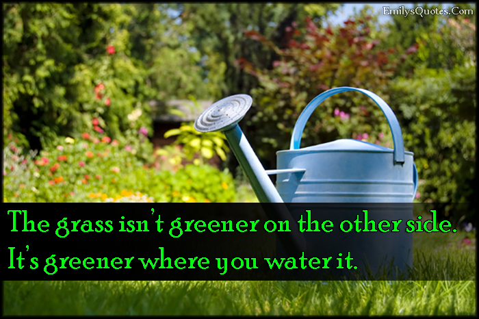 EmilysQuotes.Com - grass, greener, other side, water, inspirational, attitude, consequences, intelligent, unknown