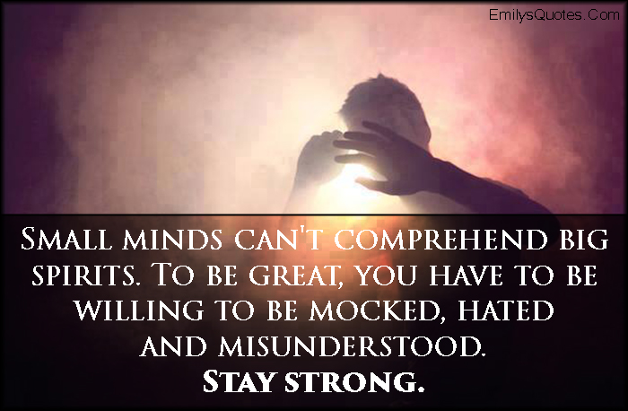 EmilysQuotes.Com - small mind, mind, comprehend, big spirits, great, mocked, hated, misunderstood, amazing, inspirational, motivational, encouraging, strength, unknown