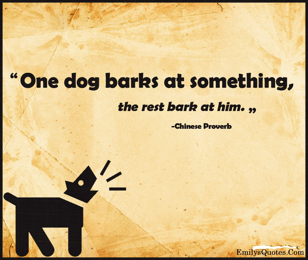 Inspirational Proverbs One Dog Barks At Something The Rest Bark At Him  Popular