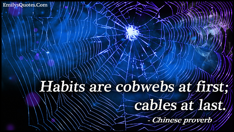 EmilysQuotes.Com - habits, cobwebs, cables, wisdom, proverb,  Chinese proverb
