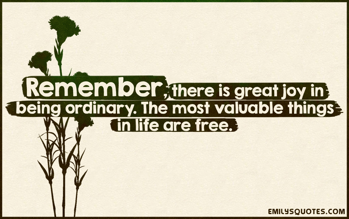 Great Quotes About Life Remember There Is Great Joy In Being Ordinarythe Most Valuable