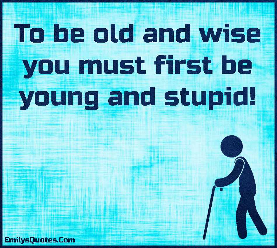 To be old and wise you must first be young and stupid ...