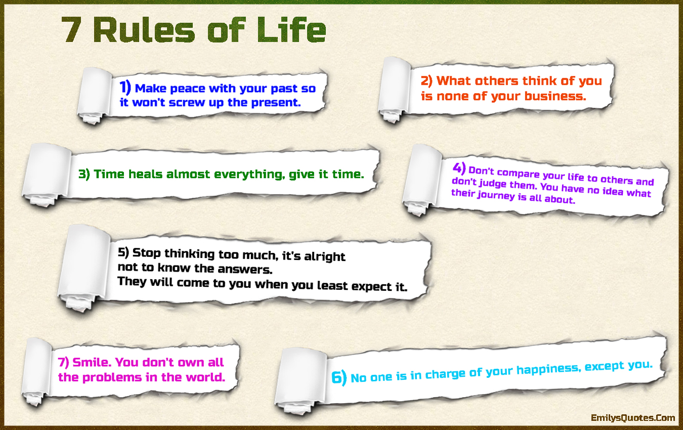 7 Rules Of Life Quote Unique 7 Rules Of Life  Popular Inspirational Quotes At Emilysquotes