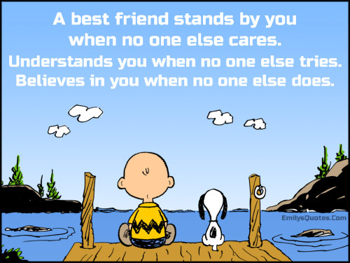 A best friend stands by you when no one else cares. Understands you when no one else tries. Believes in you when no one else does.