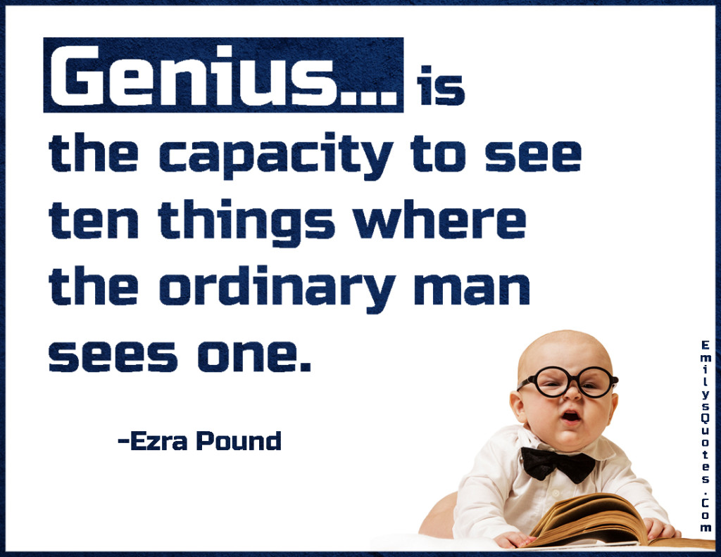 Genius... is the capacity to see ten things where the ordinary man sees one.