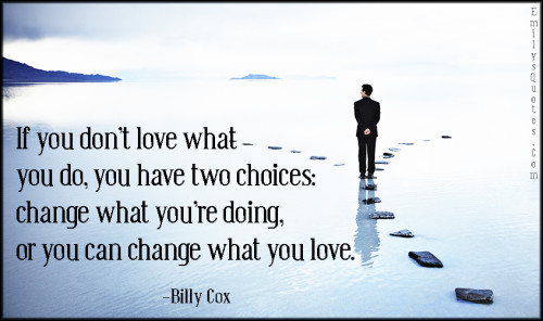If you don't love what you do, you have two choices - change what you're doing, or you can change what you love.