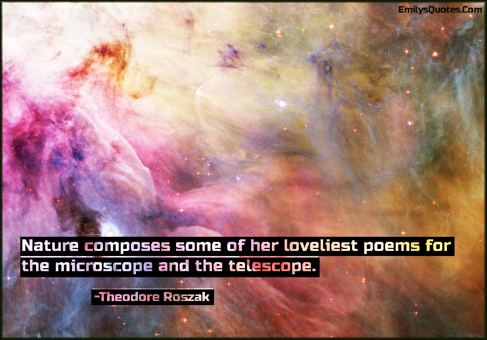 Nature composes some of her loveliest poems for the microscope and the telescope.