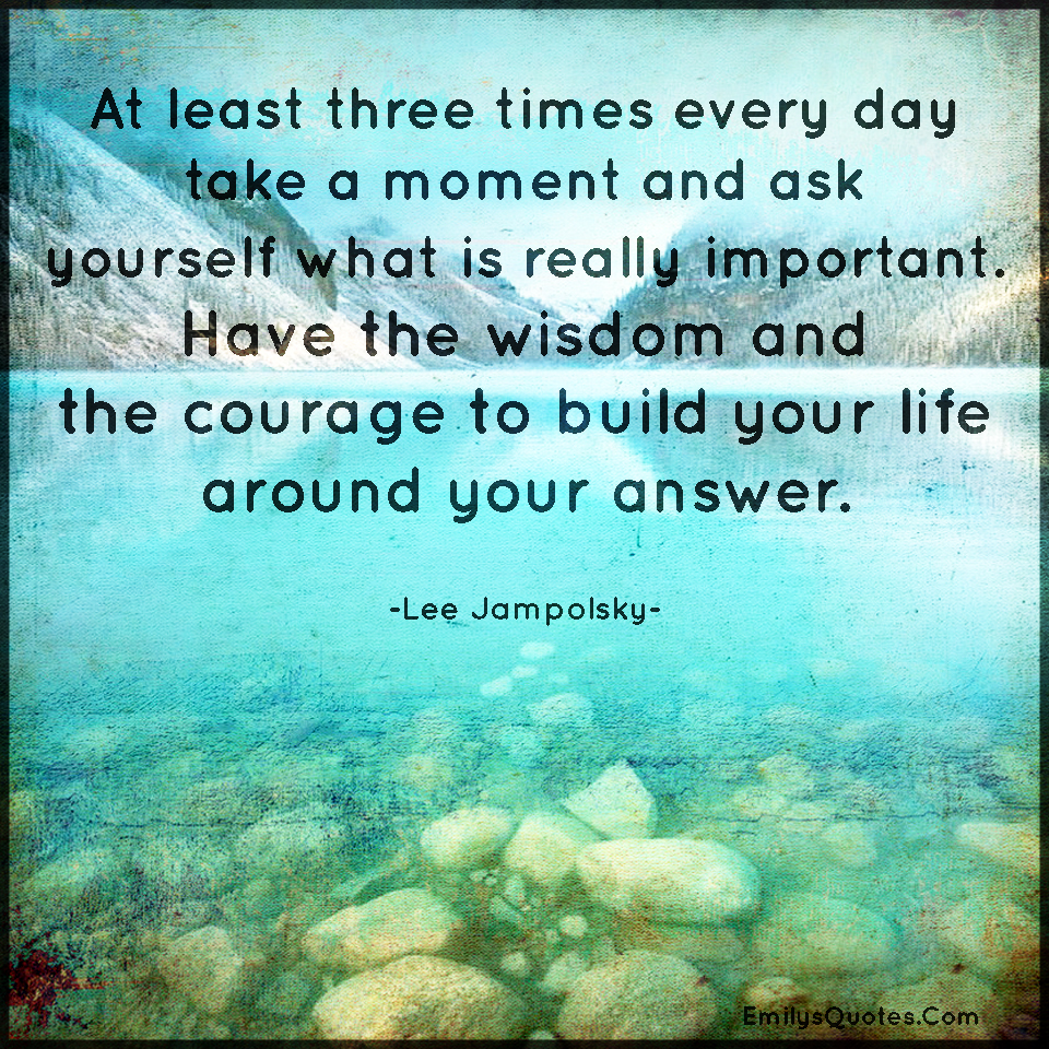 At least three times every day take a moment and ask yourself what is really important. Have the wisdom and the courage to build your life around your answer.