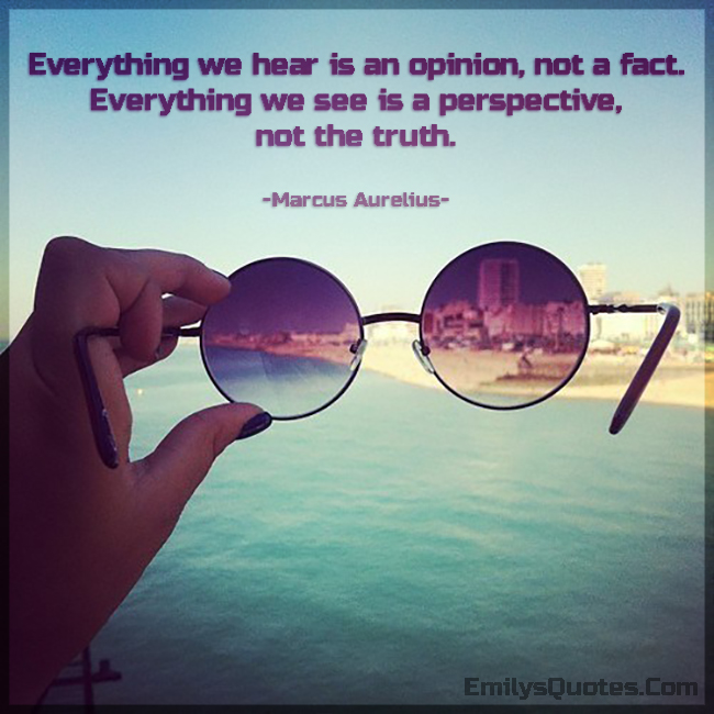 Everything we hear is an opinion, not a fact. Everything we see is a perspective, not the truth.