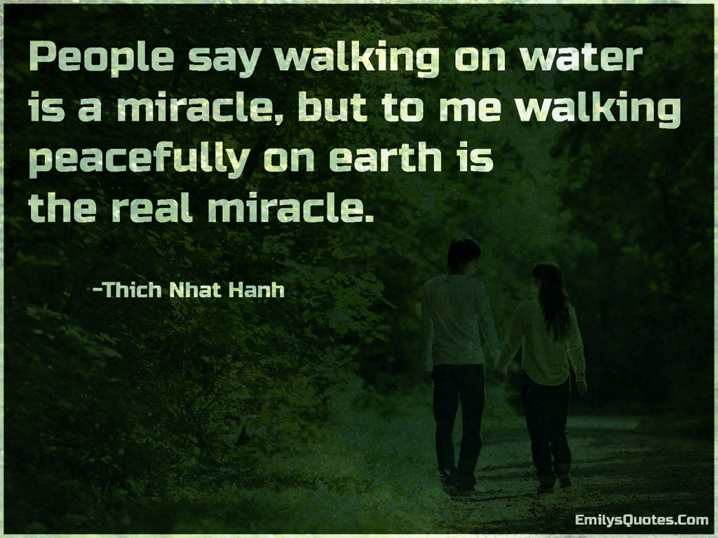 People say walking on water is a miracle, but to me walking peacefully on earth is the real miracle.