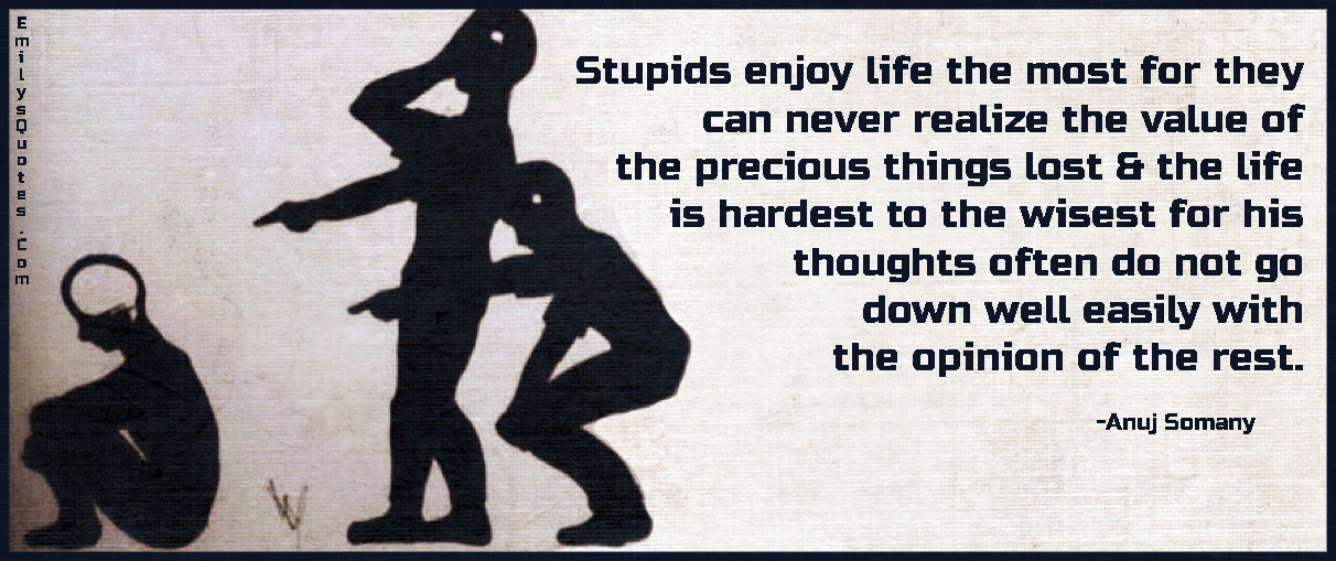 Stupids Enjoy Life The Most For They Can Never Realize The Value Of The  Precious Things. U201c