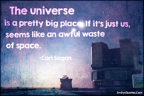 The universe is a pretty big place. If it's just us, seems like an awful waste of space.
