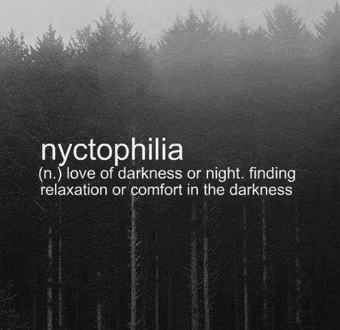 Love of darkness or night. Finding relaxation or comfort in the darkness.
