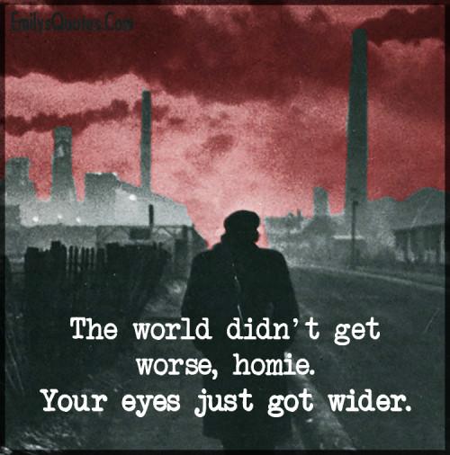 The world didn't get worse, homie. Your eyes just got wider.
