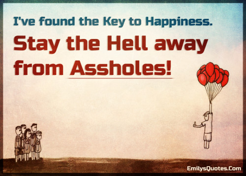I've found the Key to Happiness. Stay the Hell away from Assholes!