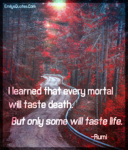 I learned that every mortal will taste death. But only some will taste life.