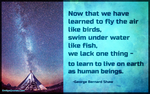 Now that we have learned to fly the air like birds, swim under water like fish