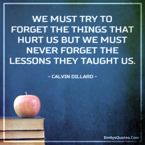 We must try to forget the things that hurt us but we must never forget the lessons they taught us.