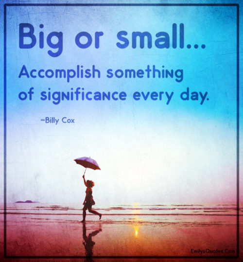 Big or small... Accomplish something of significance every day.