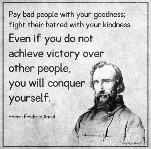 Pay bad people with your goodness; fight their hatred with your kindness.