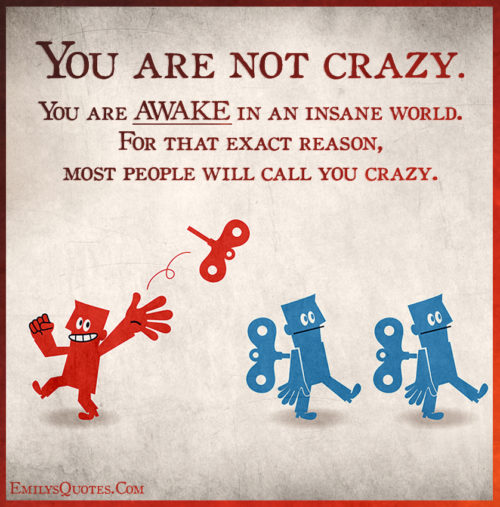 You are not crazy. You are AWAKE in an insane world. For that exact reason