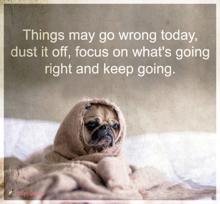 Things may go wrong today, dust it off, focus on what's going right