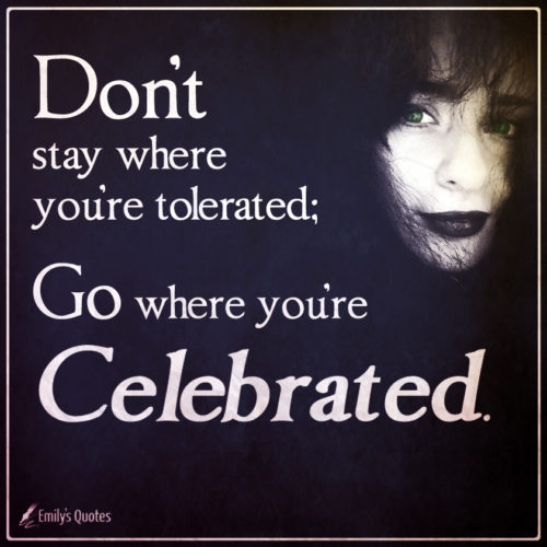 Don't stay where you're tolerated; go where you're celebrated.